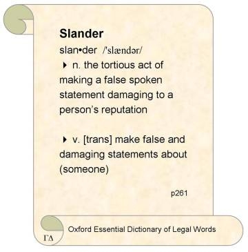 Oxford Legal, Slander